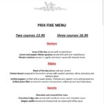 Prix Fixe menu, week beginning 5th Nov 2018