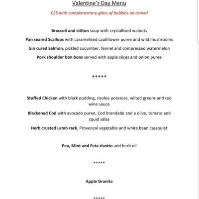 The Owl At Lichfield Valentine's Day 2019 menu